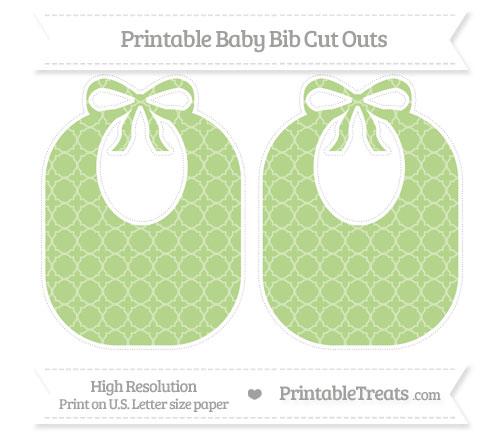 Free Pastel Light Green Quatrefoil Pattern Large Baby Bib Cut Outs