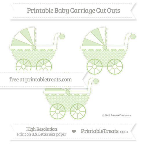 Free Pastel Light Green Quatrefoil Pattern Medium Baby Carriage Cut Outs