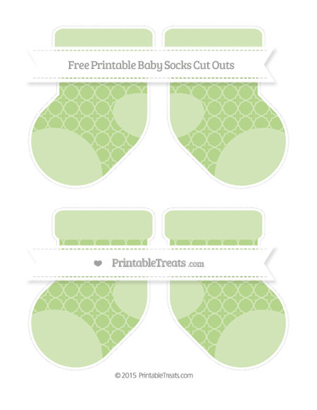 Free Pastel Light Green Quatrefoil Pattern Medium Baby Socks Cut Outs