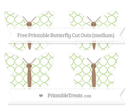 Free Pastel Light Green Quatrefoil Pattern Medium Butterfly Cut Outs