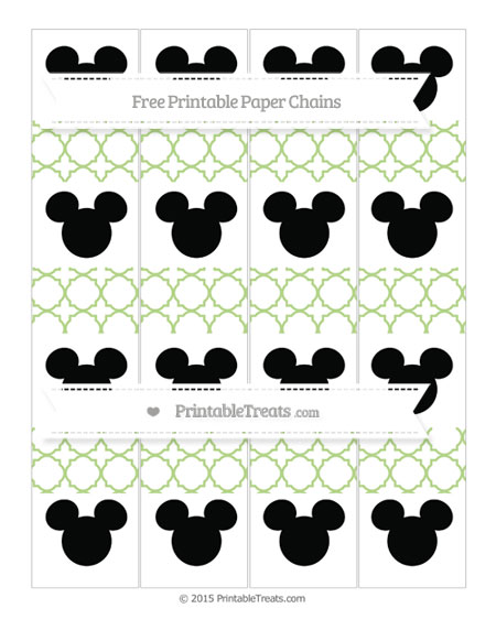 Free Pastel Light Green Quatrefoil Pattern Mickey Mouse Paper Chains