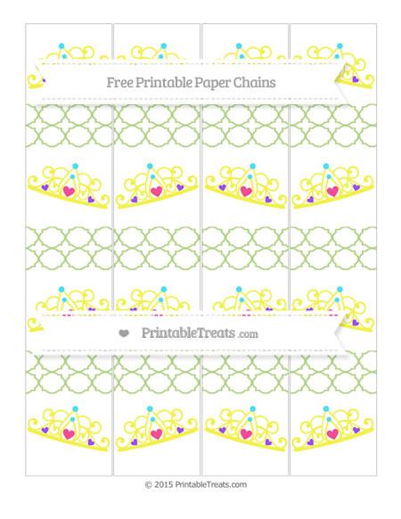 Free Pastel Light Green Quatrefoil Pattern Princess Tiara Paper Chains