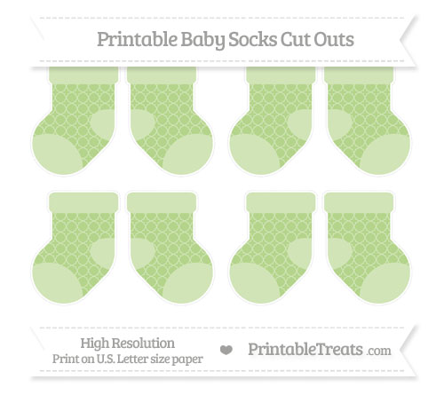 Free Pastel Light Green Quatrefoil Pattern Small Baby Socks Cut Outs