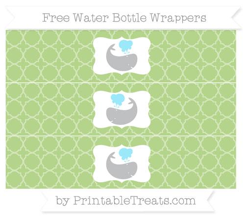 Free Pastel Light Green Quatrefoil Pattern Whale Water Bottle Wrappers
