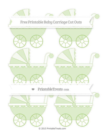 Free Pastel Light Green Small Baby Carriage Cut Outs