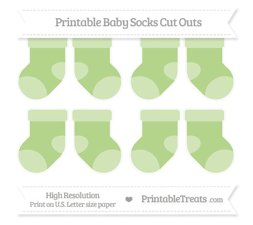 Free Pastel Light Green Small Baby Socks Cut Outs