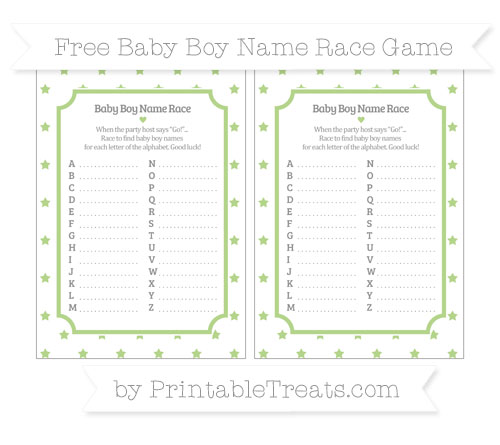 Free Pastel Light Green Star Pattern Baby Boy Name Race Game