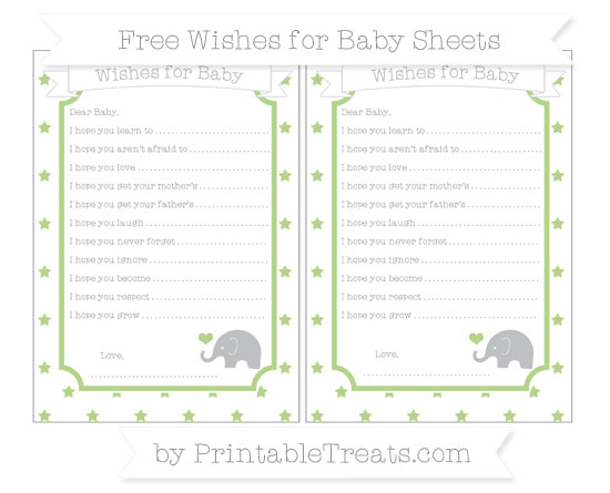 Free Pastel Light Green Star Pattern Baby Elephant Wishes for Baby Sheets