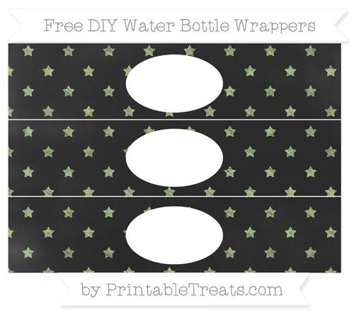 Free Pastel Light Green Star Pattern Chalk Style DIY Water Bottle Wrappers