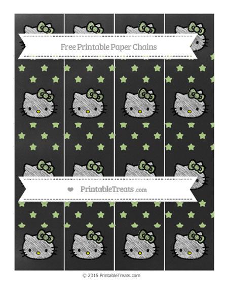 Free Pastel Light Green Star Pattern Chalk Style Hello Kitty Paper Chains