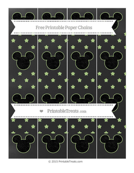 Free Pastel Light Green Star Pattern Chalk Style Mickey Mouse Paper Chains