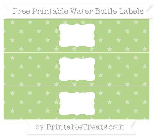Free Pastel Light Green Star Pattern Water Bottle Labels