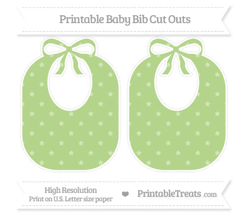 Free Pastel Light Green Star Pattern Large Baby Bib Cut Outs
