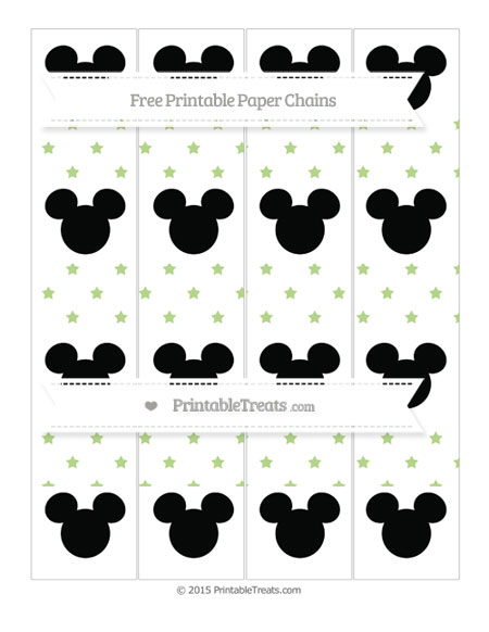 Free Pastel Light Green Star Pattern Mickey Mouse Paper Chains