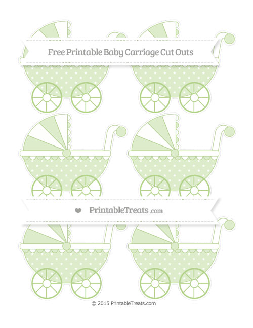 Free Pastel Light Green Star Pattern Small Baby Carriage Cut Outs