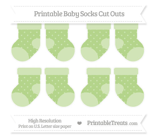 Free Pastel Light Green Star Pattern Small Baby Socks Cut Outs