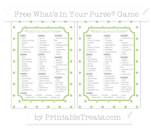 Free Pastel Light Green Star Pattern What's in Your Purse Baby Shower Game
