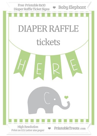Free Pastel Light Green Striped Baby Elephant 8x10 Diaper Raffle Ticket Sign