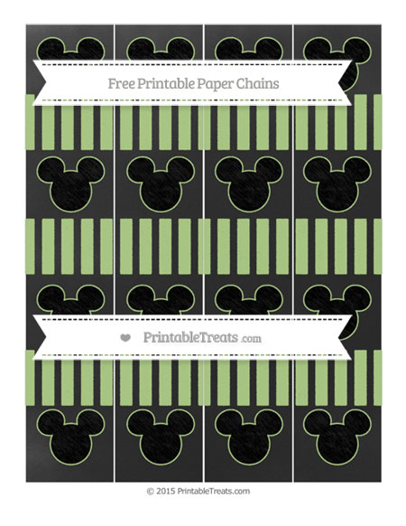 Free Pastel Light Green Striped Chalk Style Mickey Mouse Paper Chains