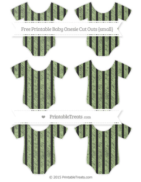 Free Pastel Light Green Striped Chalk Style Small Baby Onesie Cut Outs