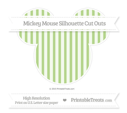 Free Pastel Light Green Striped Extra Large Mickey Mouse Silhouette Cut Outs