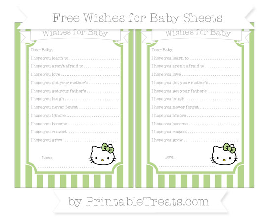 Free Pastel Light Green Striped Hello Kitty Wishes for Baby Sheets