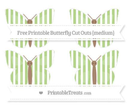 Free Pastel Light Green Striped Medium Butterfly Cut Outs