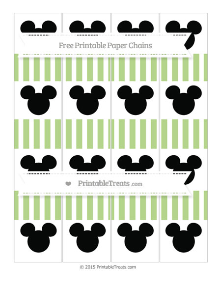 Free Pastel Light Green Striped Mickey Mouse Paper Chains