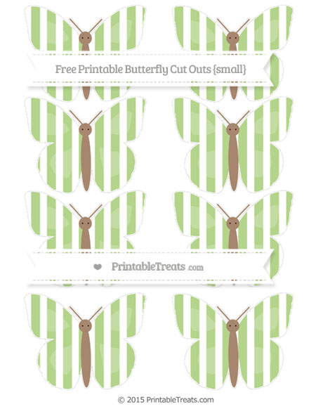 Free Pastel Light Green Striped Small Butterfly Cut Outs