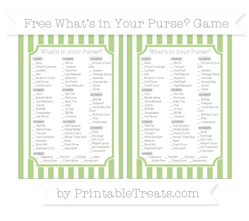Free Pastel Light Green Striped What's in Your Purse Baby Shower Game