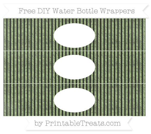 Free Pastel Light Green Thin Striped Pattern Chalk Style DIY Water Bottle Wrappers