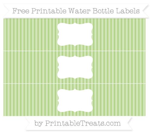 Free Pastel Light Green Thin Striped Pattern Water Bottle Labels