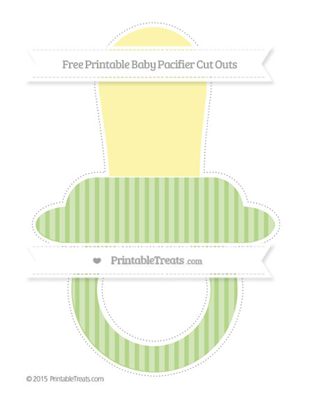 Free Pastel Light Green Thin Striped Pattern Extra Large Baby Pacifier Cut Outs