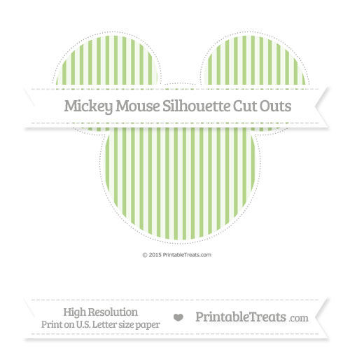 Free Pastel Light Green Thin Striped Pattern Extra Large Mickey Mouse Silhouette Cut Outs