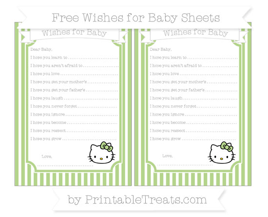 Free Pastel Light Green Thin Striped Pattern Hello Kitty Wishes for Baby Sheets