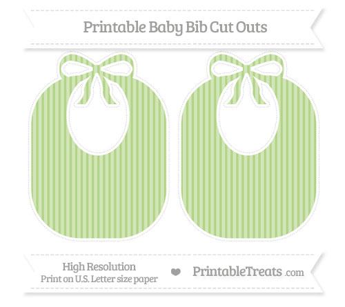 Free Pastel Light Green Thin Striped Pattern Large Baby Bib Cut Outs