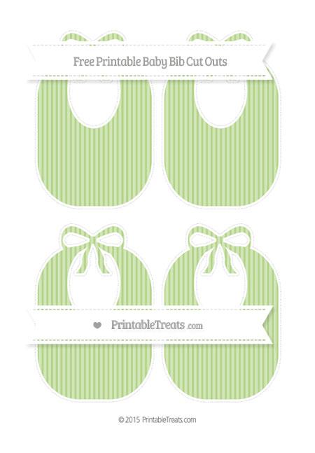 Free Pastel Light Green Thin Striped Pattern Medium Baby Bib Cut Outs