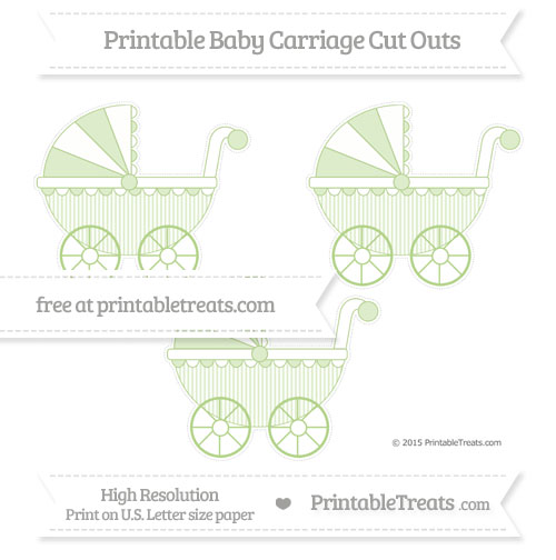Free Pastel Light Green Thin Striped Pattern Medium Baby Carriage Cut Outs