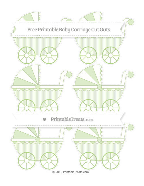 Free Pastel Light Green Thin Striped Pattern Small Baby Carriage Cut Outs