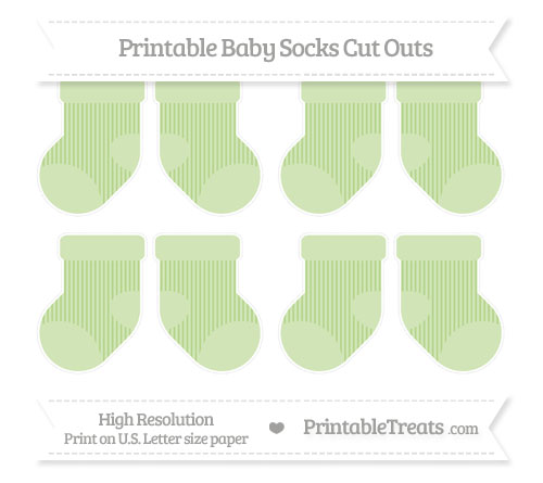 Free Pastel Light Green Thin Striped Pattern Small Baby Socks Cut Outs