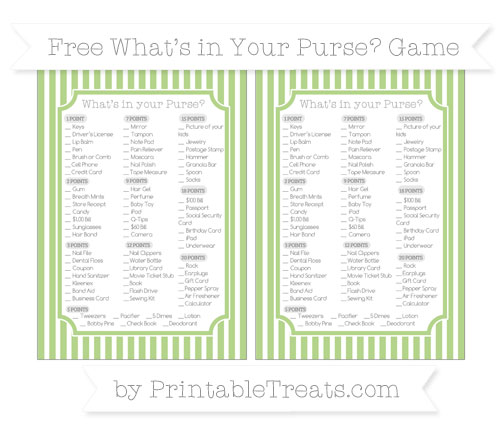 Free Pastel Light Green Thin Striped Pattern What's in Your Purse Baby Shower Game