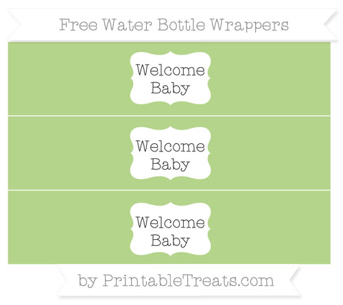 Free Pastel Light Green Welcome Baby Water Bottle Wrappers