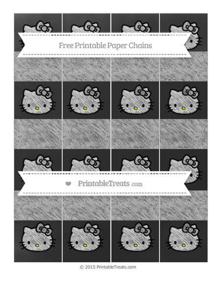 Free Pastel Light Grey Chalk Style Hello Kitty Paper Chains