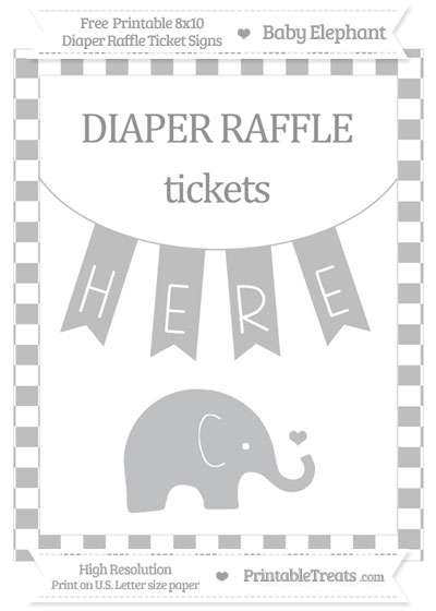 Free Pastel Light Grey Checker Pattern Baby Elephant 8x10 Diaper Raffle Ticket Sign