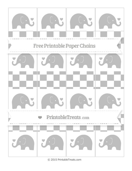 Free Pastel Light Grey Checker Pattern Baby Elephant Paper Chains