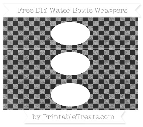 Free Pastel Light Grey Checker Pattern Chalk Style DIY Water Bottle Wrappers