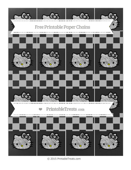 Free Pastel Light Grey Checker Pattern Chalk Style Hello Kitty Paper Chains