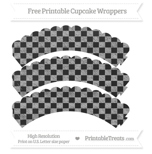 Free Pastel Light Grey Checker Pattern Chalk Style Scalloped Cupcake Wrappers