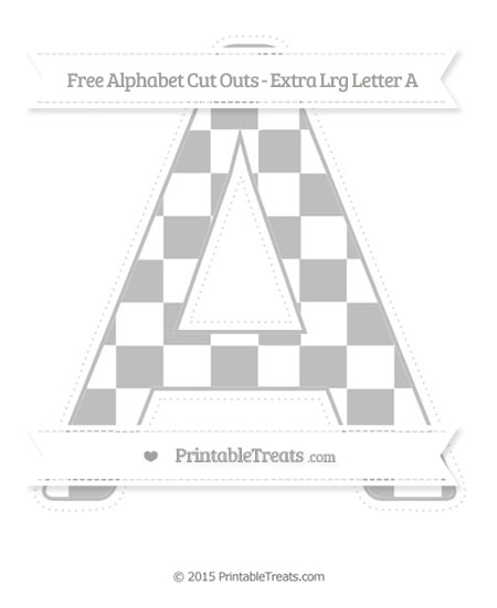 Free Pastel Light Grey Checker Pattern Extra Large Capital Letter A Cut Outs