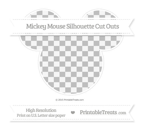 Free Pastel Light Grey Checker Pattern Extra Large Mickey Mouse Silhouette Cut Outs